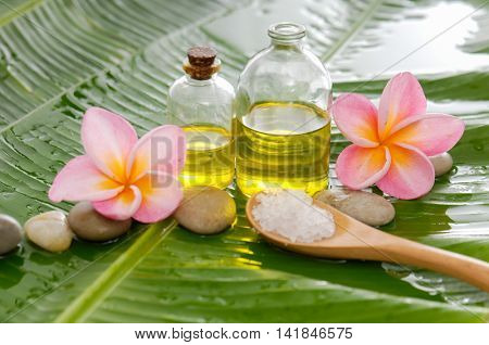 Spa set on banana leaf