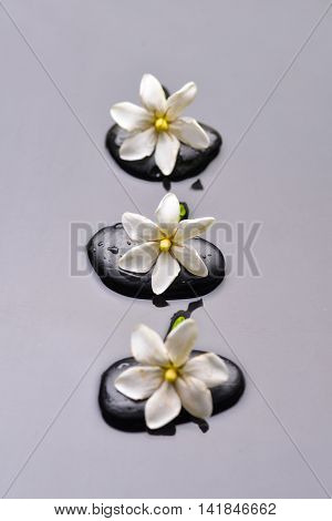 Three gardenia with therapy stones