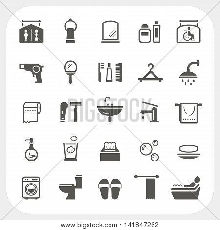 Bathroom icons set isolated on white background