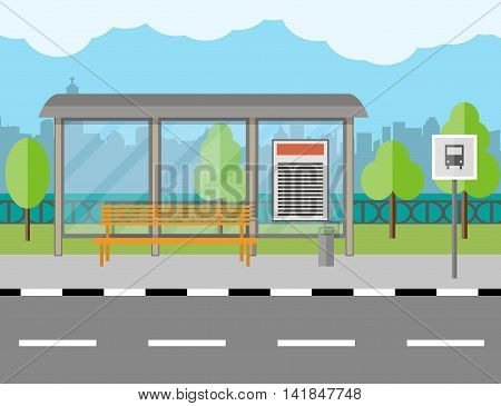 Empty Bus Stop with bench and trash receptacle, city background, tree, blue sky with clouds