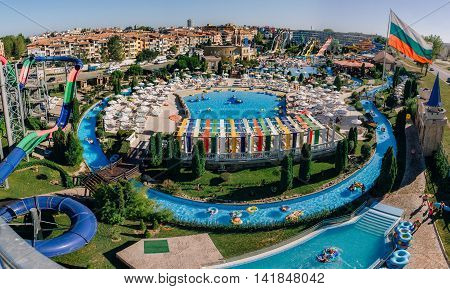 SUNNY BEACH BULGARIA SEP 1 2015: Panoramic view of Water park Action in Sunny Beach with number of slides and swimming pools for children and adults