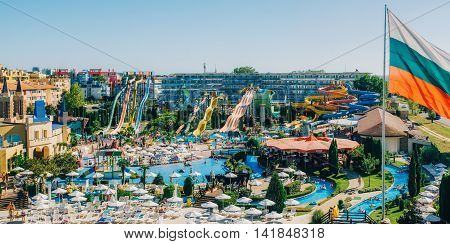 SUNNY BEACH BULGARIA - SEPTEMBER 1 2015: Panoramic view of Water park Action in Sunny Beach with number of slides and swimming pools for children and adults.