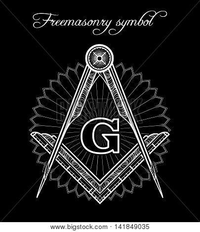 Masonic symbol. Mystical illuminati brotherhood vector sign poster