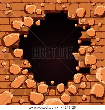 Red brick wall with hole vector illustration