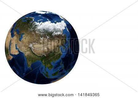 Whole earth globe view focus on Asia