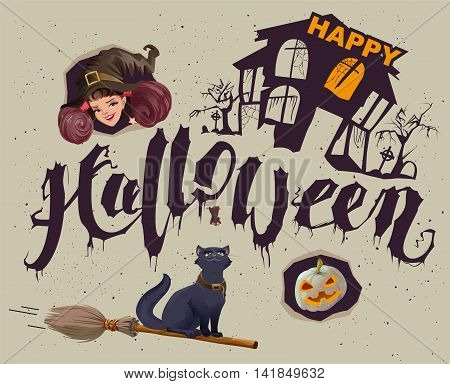 Happy Halloween. Set of accessories for greeting card. Illustration in vector format