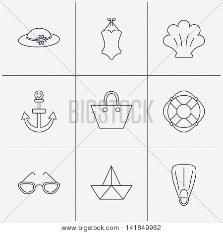 Paper boat, shell and swimsuit icons. Lifebuoy, glases and women hat linear signs. Anchor, ladies handbag icons. Linear icons on white background. Vector