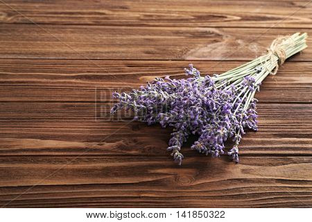 Bunch of lavender on wooden table