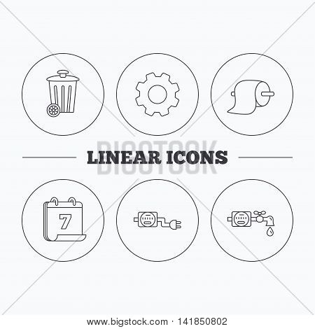 Trash bin, electricity and water counter icons. Toiler paper linear sign. Flat cogwheel and calendar symbols. Linear icons in circle buttons. Vector