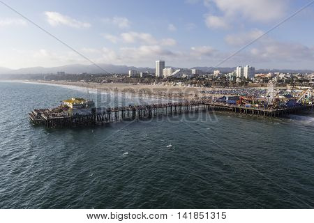 Santa Monica, California, USA - August 6, 2016:  Aerial of the Pacific Ocean and popular Santa Monica Pier near Los Angeles.