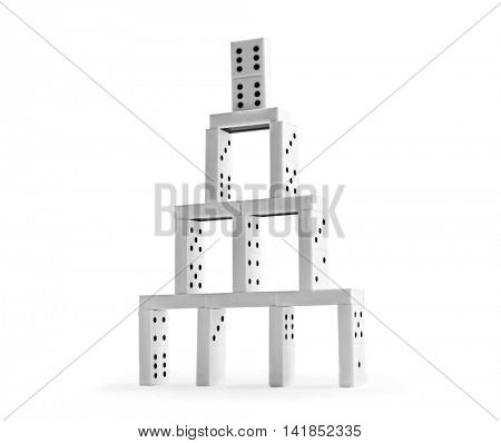 Domino tower on white background