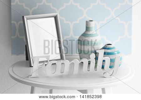 Word Family and decor on table