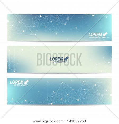 Geometric abstract banners. Molecule and communication background for website templates. Backdrop with connected line whit dots. Vector illustration