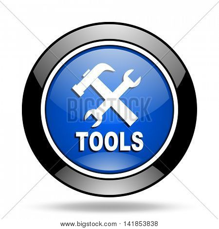 tools blue glossy icon
