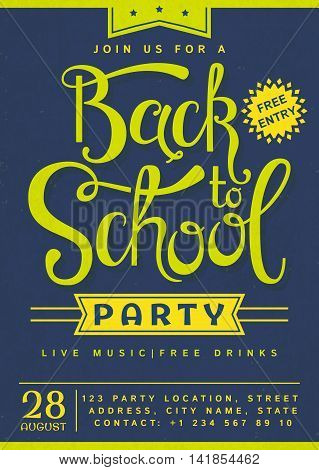 Back to School party invitation. Flyer with hand lettering header. Vector template.
