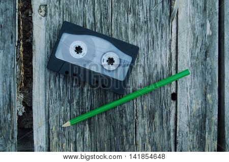 Pencil tool to rewind the tape cassettes