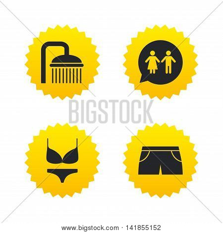 Swimming pool icons. Shower water drops and swimwear symbols. WC Toilet speech bubble sign. Trunks and women underwear. Yellow stars labels with flat icons. Vector