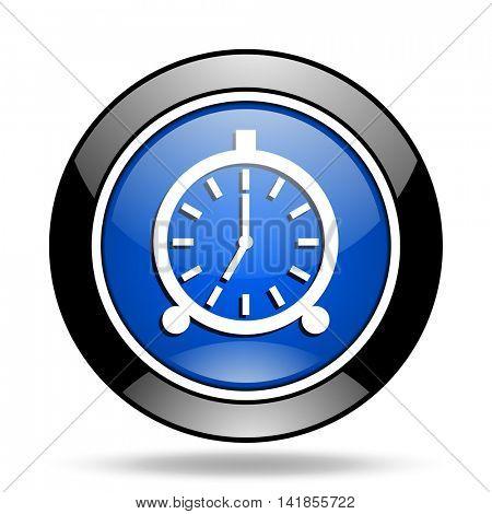 alarm blue glossy icon