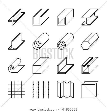 Metallurgy products line vector icons. Metall industry, iron or steel signs, product material rod and production bar and roll illustration