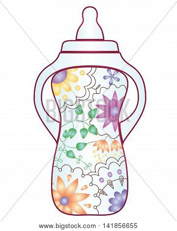 Vector baby feeding bootle with gradient flowers