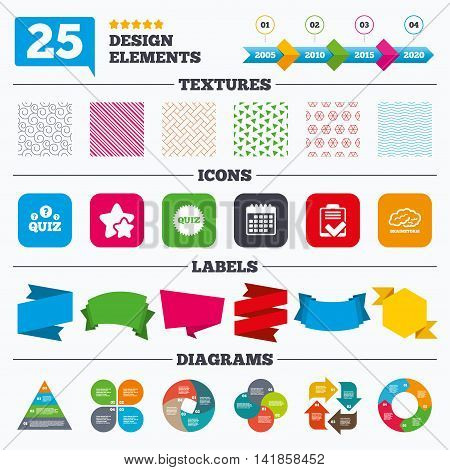 Offer sale tags, textures and charts. Quiz icons. Brainstorm or human think. Checklist symbol. Survey poll or questionnaire feedback form. Questions and answers game sign. Sale price tags. Vector