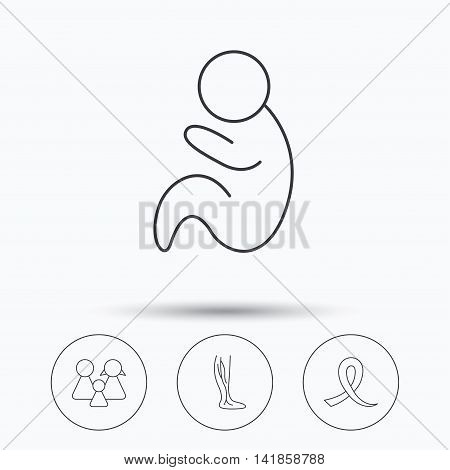 Family, pediatrics and phlebology icons. Oncology awareness ribbon linear sign. Linear icons in circle buttons. Flat web symbols. Vector