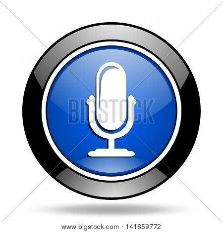 microphone blue glossy icon