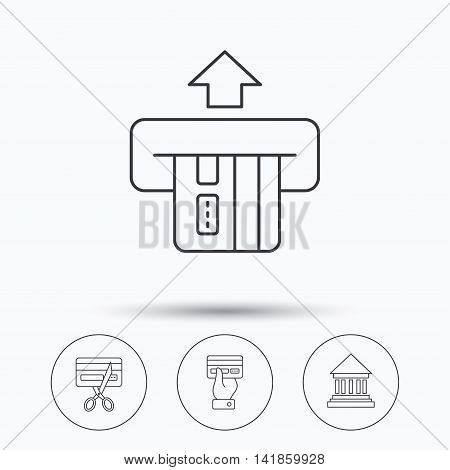 Bank credit card, expired card icons. Give credit card linear sign. Linear icons in circle buttons. Flat web symbols. Vector