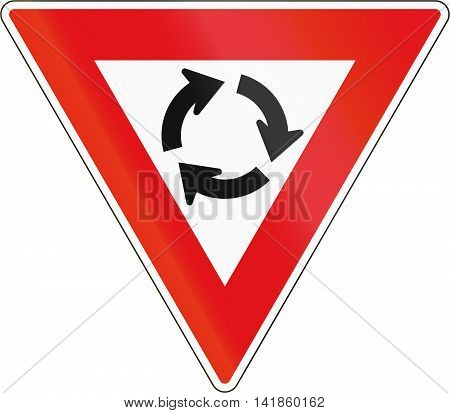 Road Sign Used In The African Country Of Botswana - Give Way At Roundabout