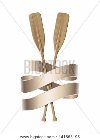 Nautical emblem with twin paddles and ribbon. Marine summer travel banner. Vector illustration