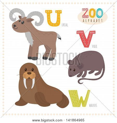 Cute Cartoon Animals. Zoo Alphabet With Funny Animals. U, V, W Letters. Urial, Vole, Walrus