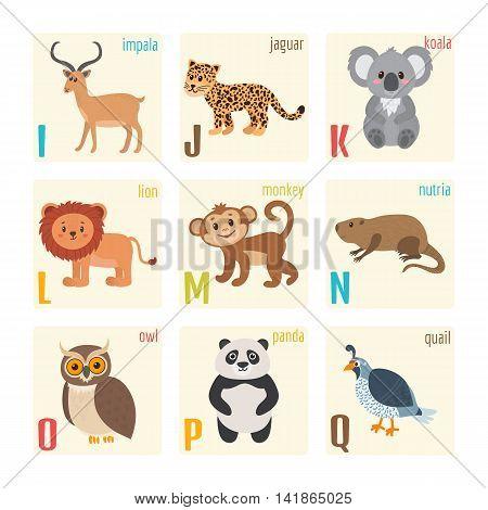 Cute Zoo Alphabet With Animals In Cartoon Style. Impala, Jaguar, Koala, Lion, Monkey, Nutria, Owl, P