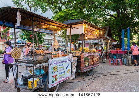 Koh Samui, Thailand - Jun 29, 2016. Fresh street food in Koh Samui, Thailand