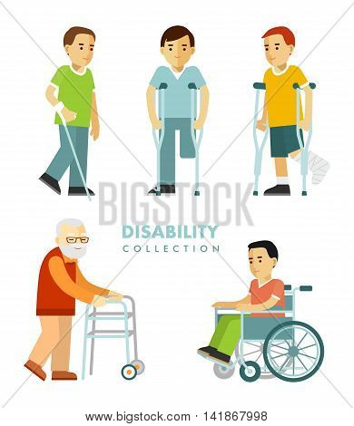 Young and elderly disabled men in wheelchair, with crutches, stick, walker isolated on white background