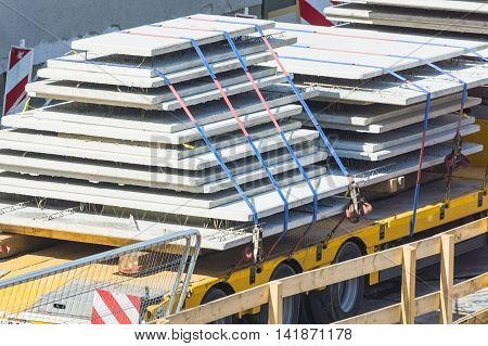 Precast concrete walls on a truck Low loader