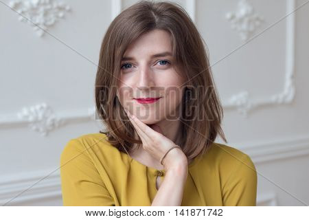 Gentle girl in lemon dress, professional model