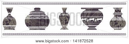 Illustration of ancient vase with greek ornaments. Vintage vase for your designs.