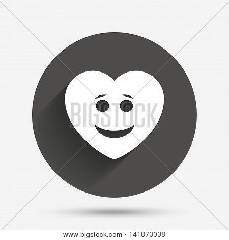 Smile heart face sign icon. Happy smiley with hairstyle chat symbol. Circle flat button with shadow. Vector