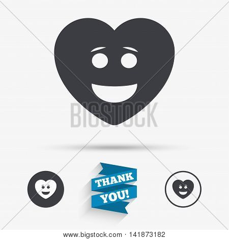 Smile heart face sign icon. Happy smiley with hairstyle chat symbol. Flat icons. Buttons with icons. Thank you ribbon. Vector