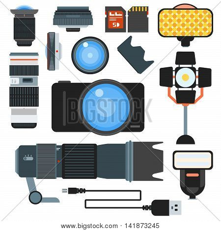 Set of camera lens flat icons vector illustration. Collection of camera lens photography equipment digital technology. Focus optical macro zoom professional shutter camera lens set.