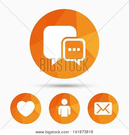 Social media icons. Chat speech bubble and Mail messages symbols. Love heart sign. Human person profile. Triangular low poly buttons with shadow. Vector