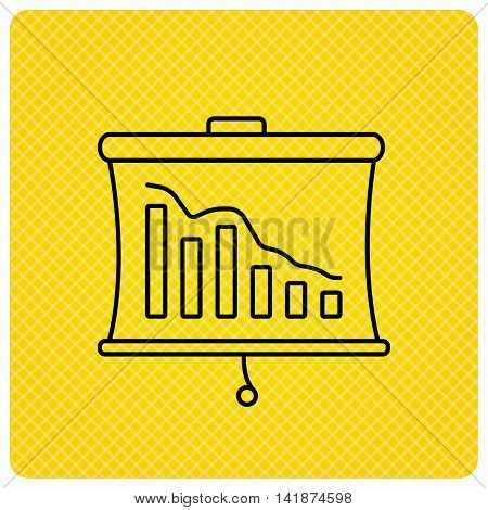 Statistic icon. Presentation board sign. Defaulted chart symbol. Linear icon on orange background. Vector