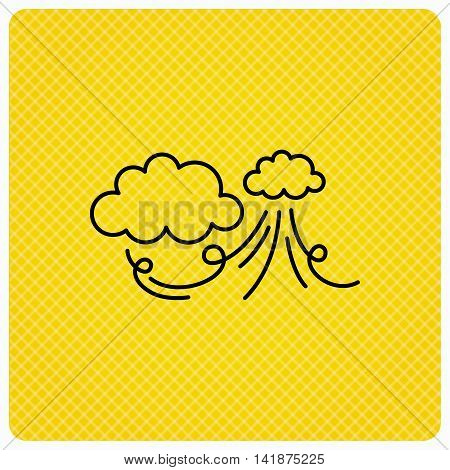 Wind icon. Cloud with storm sign. Strong wind or tempest symbol. Linear icon on orange background. Vector