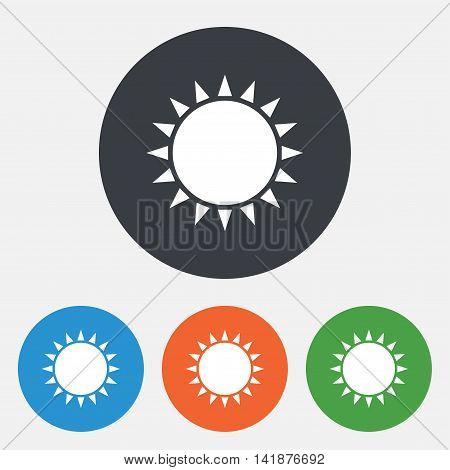 Sun icon. Sunlight summer symbol. Hot weather sign. Round circle buttons. Vector