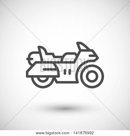 Touring motorcycle line icon isolated on grey. Vector illustration