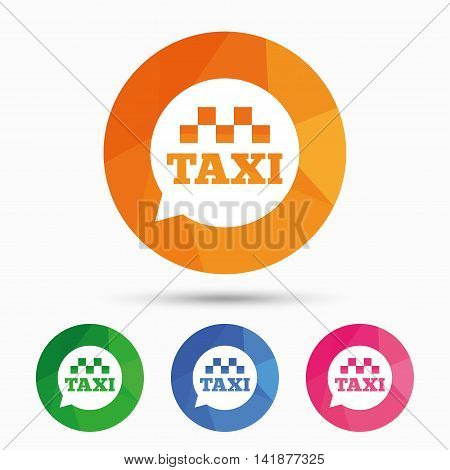 Taxi speech bubble sign icon. Public transport symbol Triangular low poly button with flat icon. Vector