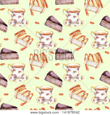 Seamless teatime pattern with cakes and tea cup on paper texture. Watercolor drawing