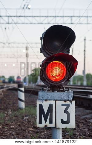 Red Semaphore Signal On Railway In Summer Time