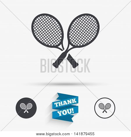 Tennis rackets sign icon. Sport symbol. Flat icons. Buttons with icons. Thank you ribbon. Vector