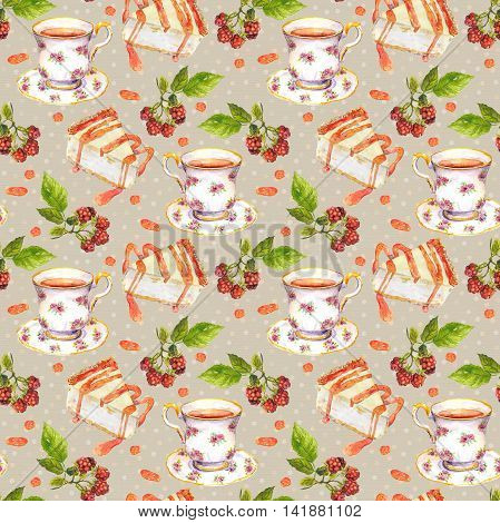 Seamless pattern with tea cup, cheese cake and berries on pea spotted background